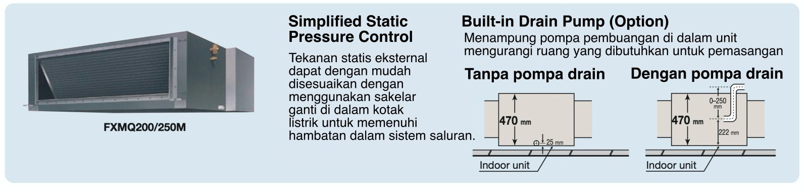 Simplified Static Pressure Control External static pressure can be easily adjusted using a change-over switch inside the electrical box to meet the resistance in the duct system.