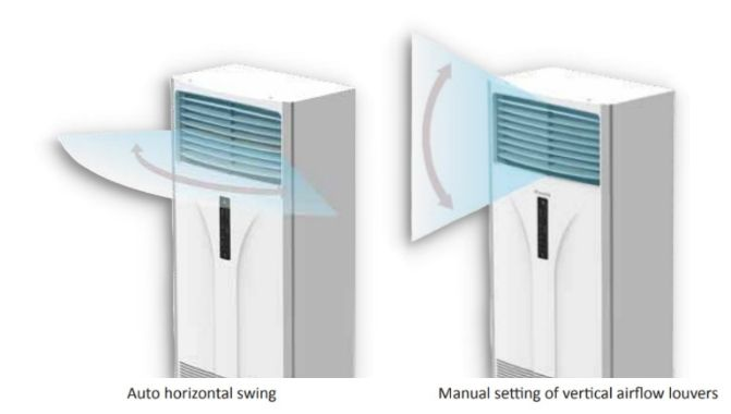 Left and right auto swing to cool the corners of the room  AC DAIKIN FLOOR STANDING  • Turbo activation in Cool and Heat modes  • Auto random restart with last state memory  • Timer setting from wireless controller  • Removable washable saranet filter  • Cache at intake grille for safety during filter removal  • Self diagnosis for faults detection and indication