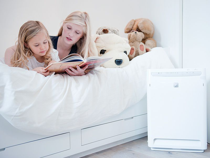 Daikin's air purifying technology decomposes and removes dust, odours, bacteria and other undesirable airborne components.