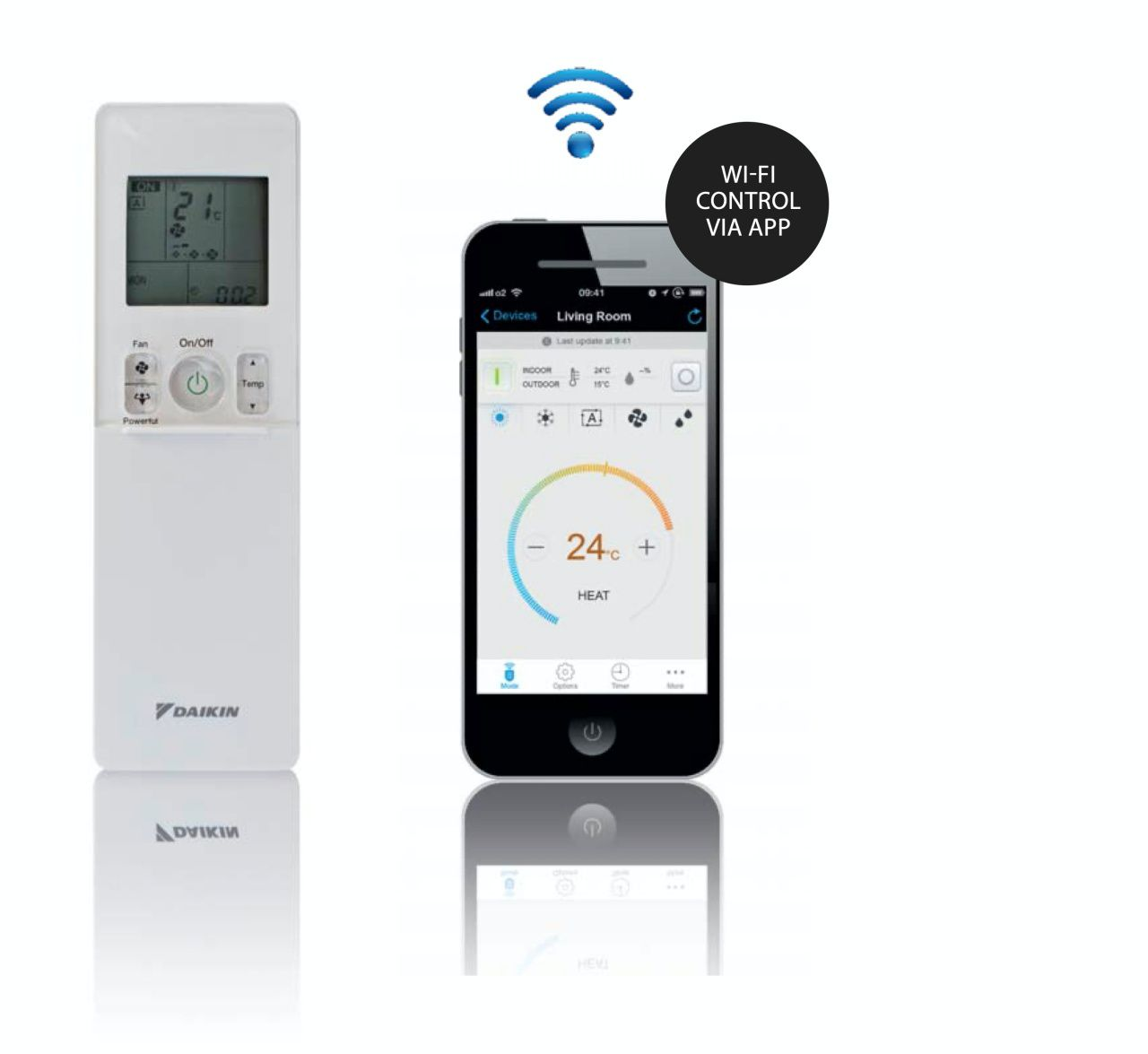 SMART WI-FI CONTROL/ SMART ENERGY SAVING WI-FI CONTROL VIA APP Theplug-and-playextrawi-fidevice allowsyoutosetandevenschedulethetemperature from anywhere, using the Apple or Android app. So you can manage the unit from any location, ensuring optimal climate control and energy efficiency.