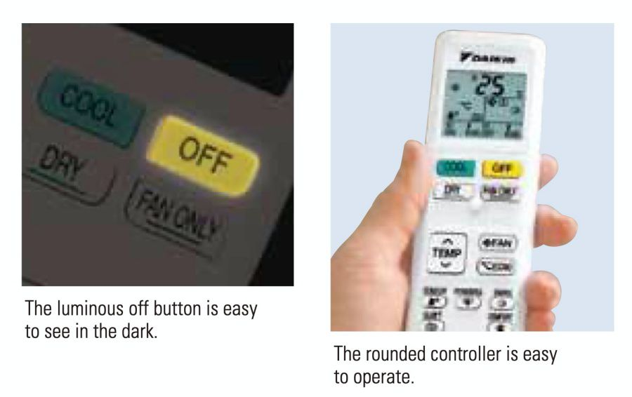 All functions are located on the front surface of this wireless remote controller for quick access. A luminous button makes it easy to stop operation in the dark. The backlit LCD allows easy operation in the dark. This function is available for the FTKC series.