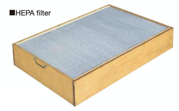 The HEPA filter has a structure incorporating a pleated glass fiber filter medium, making it highly efficient and suitable for clean rooms, etc.