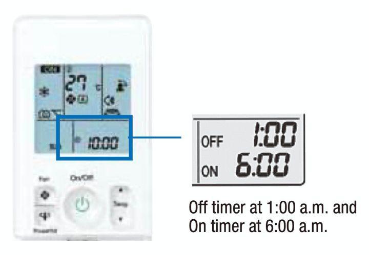 Timer ini dapat memulai atau menghentikan AC dalam periode 24 jam. Dapat diatur sebelumnya dalam 10 menit dengan menekan tombol timer on / off pada remote kontrol nirkabel. Penghitung waktu hidup dan mati dapat digunakan dalam kombinasi. Fungsi ini tersedia untuk seri FTKM dan FTXV.