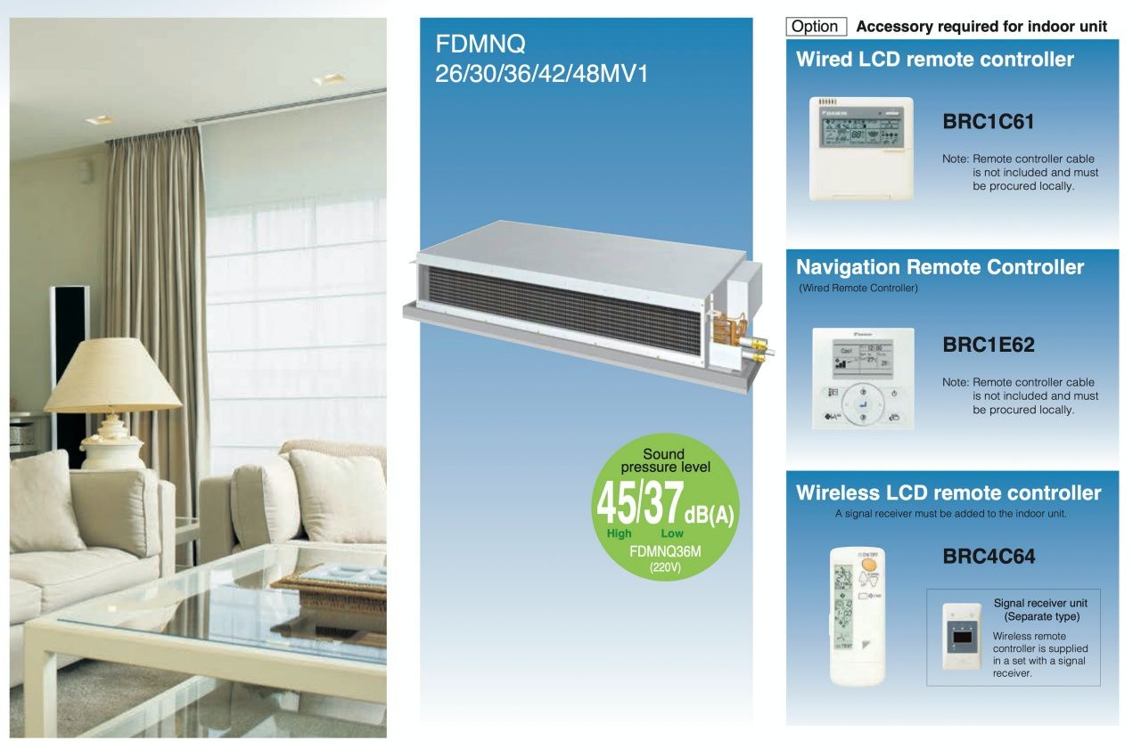 Unit can be mounted in the ceiling and air can be delivered freely by duct