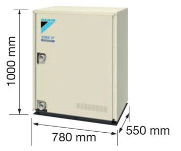 Compact outside units can be easily installed in the machine rooms on each floor. This helps overcome the restriction on differences in height of refrigerant piping. Individual air conditioning can be easily provided in high-rise buildings using this VRV system.